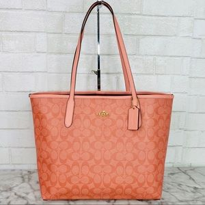 Coach Pink Signature City Tote